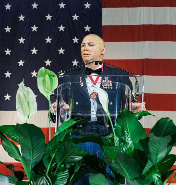 Veteran speaking at the Gala
