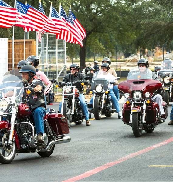 Veterans riding motorcycles